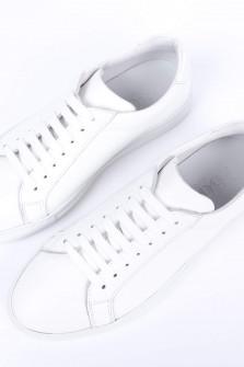 Leder-Sneaker in Weiß