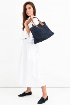 Shopper TOKYO mit Lederriemen in Marine