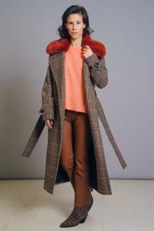 Glencheck-Wollmantel mit Fake Fur