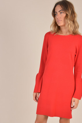 Kleid aus Wolle in Rot