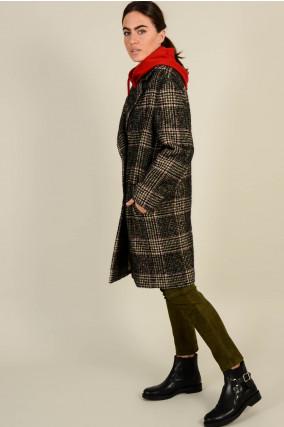 Mantel in Grün/Grau gemustert