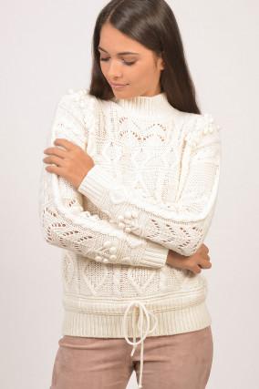 Pullover mit Pompons in Weiß