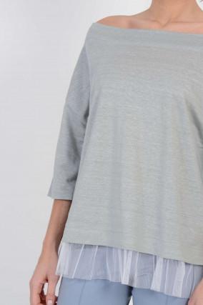 Shirt mit Tüllabschluss in Grau meliert