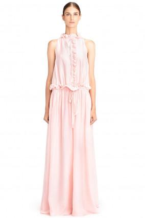 Kleid mit Perlenknöpfen und Rüschen in Rosa/Lachs