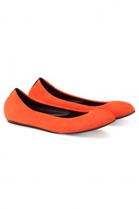 Ballerinas aus Veloursleder in Orange