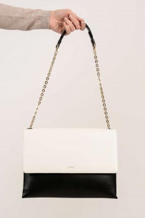Tasche aus Leder in Schwarz/Weiß