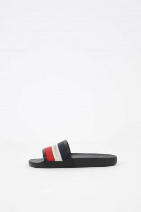 Sandale aus Leder in Schwarz/Weiß/Rot