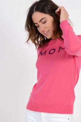 Cashmerepullover mit MON CLER bestick in Pink