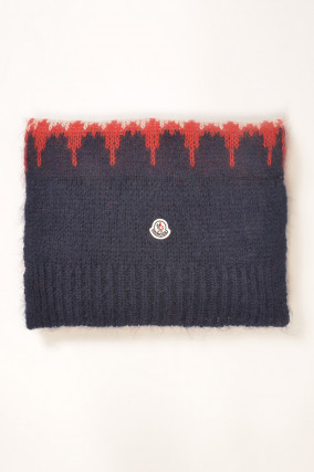 Strickschal in Rot/Navy gemustert