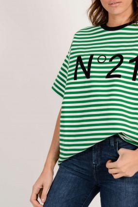 T-Shirt aus Baumwolle in Grün/Weiß gestreift