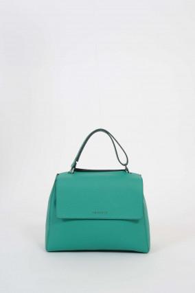 Tasche aus genarbtem Leder in Grün