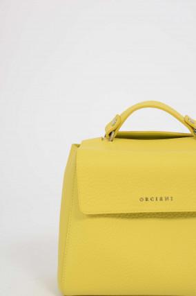 Tasche SMALL aus genarbtem Leder in Gelb
