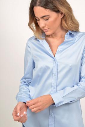 Bluse mit verlängertem Rücken in Blau