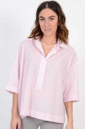 Oversized - Bluse in Rosa/Weiß gestreift