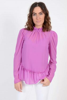 Bluse mit Rüschen in Violett