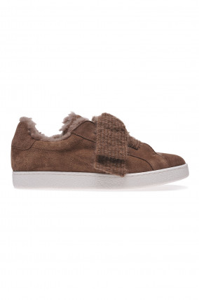 Sneakers aus Veloursleder in Braun/Taupe