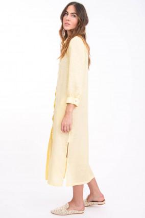 Midi-Blusenkleid aus Leinen in Hellgelb