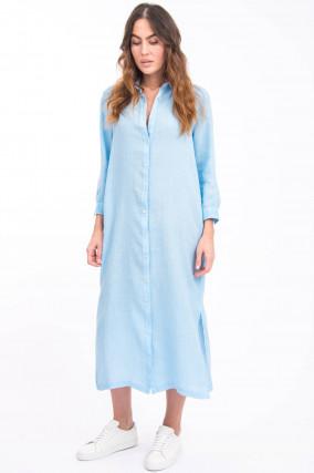 Midi-Blusenkleid aus Leinen in Hellblau
