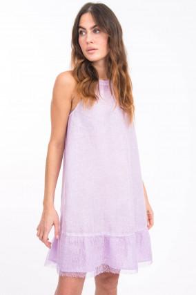 Leinenkleid mit Spitzensaum in Lavendel