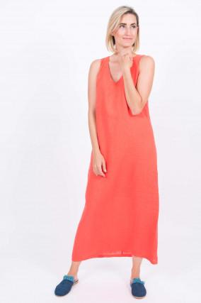 Leinenkleid in Orange