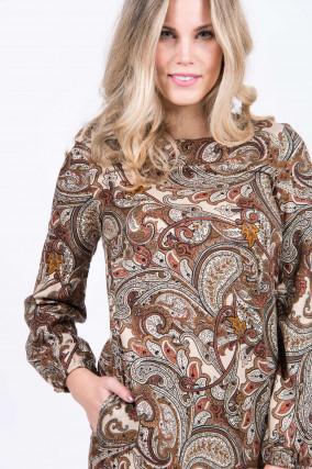 Kleid in Beige/Braun gemustert