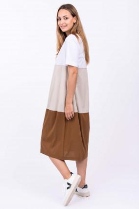 Kleid im Colorblock-Design in Weiß/Beige/Braun