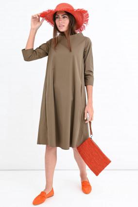 Kleid mit U-Boot-Ausschnitt in Khaki