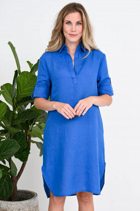Blusenkleid aus Leinen in Royalblau