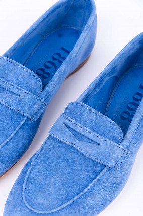 Loafer aus Veloursleder in Blau