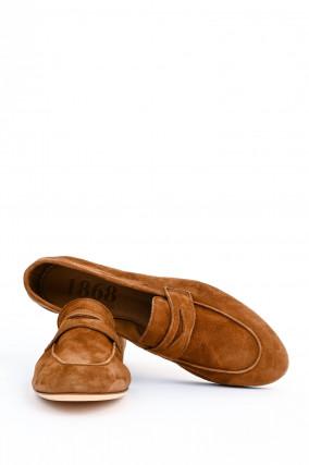 Loafer aus Veloursleder in Cognac