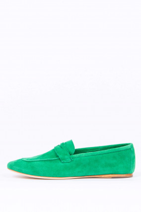 Loafer aus Veloursleder in Grün