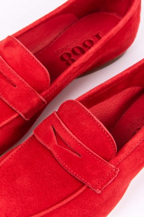 Loafer aus Veloursleder in Rot
