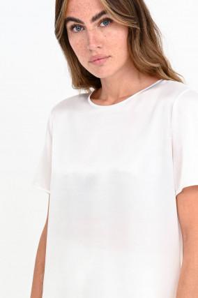 Kurzarm-Shirt aus Seiden-Mix in Natur