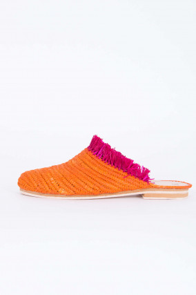 Raffia Slipper in Orange/Pink