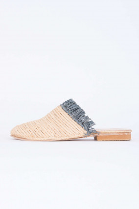 Raffia Slipper in Natur/Grau