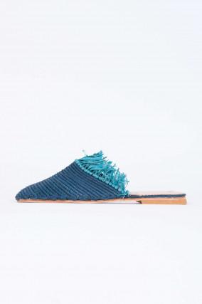 Raffia Slipper in Blau/Türkis