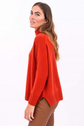 Pullover mit Stehkragen in Orangerot