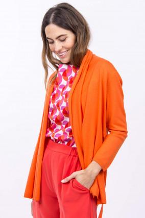 Feinstrickcardigan mit Bindegürtel in Orange