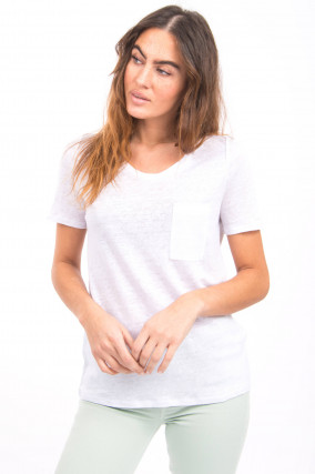 Kurzarmshirt aus Leinen in Weiß