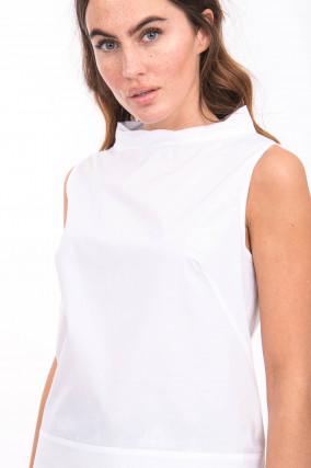 Bluse mit Schalkragen in Weiß