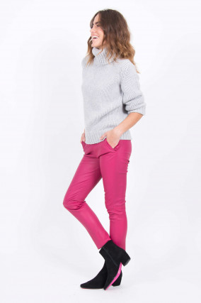 Hose CHATOU aus Nappaleder in Pink