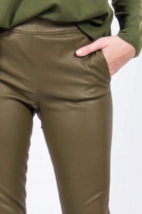 Lederhose PROVENCE mit elastischem Bund in Oliv