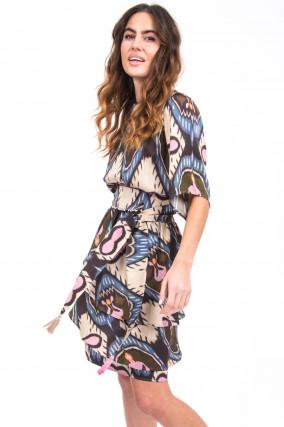 Kleid mit Musterung in Blau/Beige