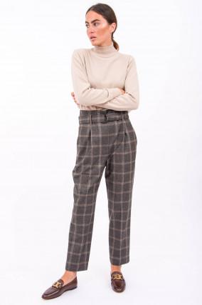 Hose aus reiner Schurwolle im Windowpane-Muster
