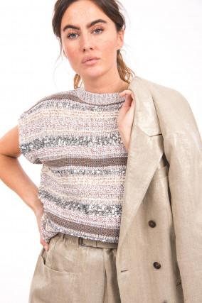 Kurzarm Pullover mit Pailletten in Beige/Grau