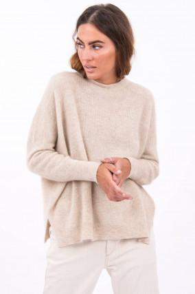 Pullover mit Lurex-Details in Hellbeige