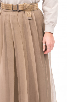 Chiffonrock aus Seide in Taupe