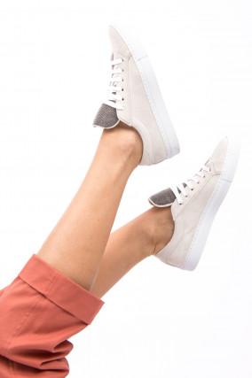 Veloursleder Sneaker in Hellbeige