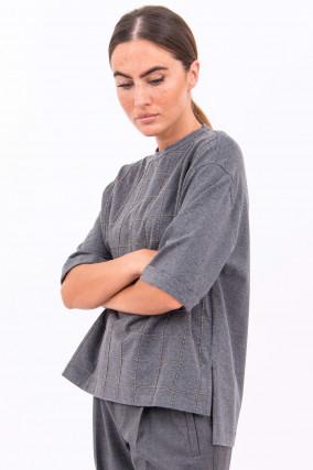 Shirt mit Schmucksteinen in Grau meliert