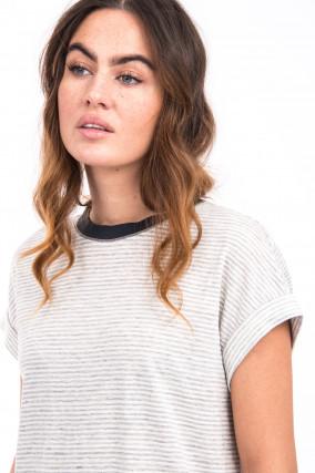 Leinen Shirt in Weiß/Grau